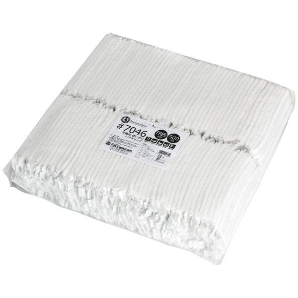 川西工業 不織布 使いきりヘアキャップ ホワイト 1セット(3000枚:500枚入×6袋)