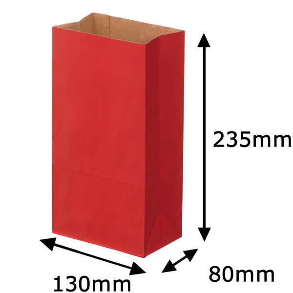 角底紙袋 赤 4号 500枚