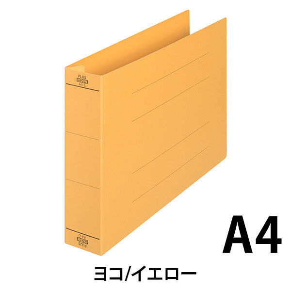 プラス フラットファイル厚とじ500 A4ヨコ イエロー 87997 1セット(30冊)