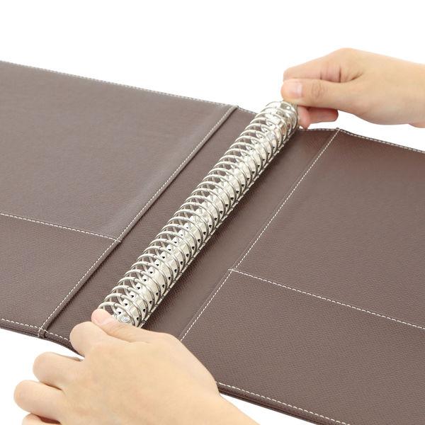 アスクル 合皮製30穴リングファイル(A4タテ)エンボス加工 ブラウン 1箱(10冊入)