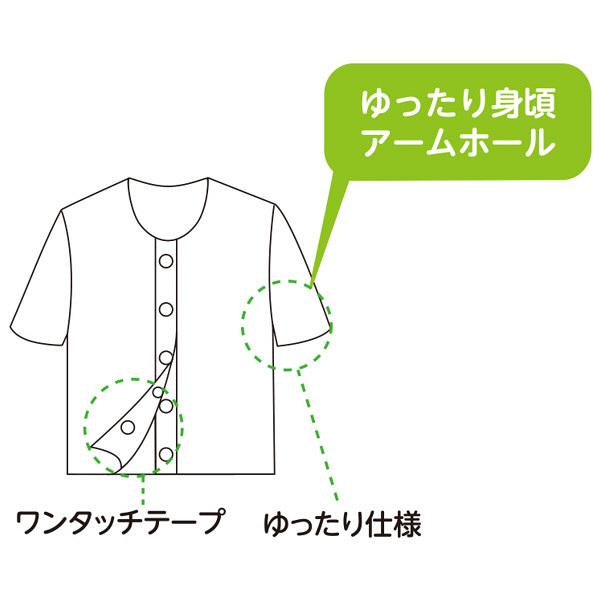 婦人3分袖ワンタッチシャツ ホワイト M 01829-11 1セット(2枚組) (取寄品)