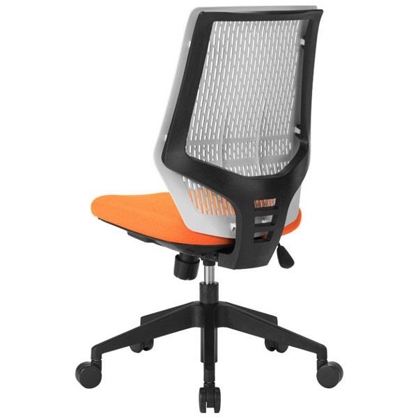 中央可鍛工業 スコルド(SKOLD) オフィスチェア ホワイト樹脂メッシュ 肘無し オレンジ YC-210W-OR 1脚 (取寄品)