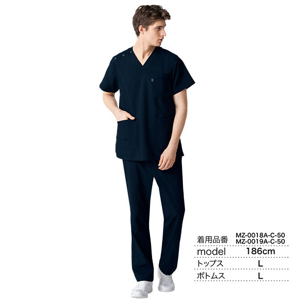 ミズノ ユナイト スクラブ(男女兼用) モスグリーン 3L MZ0018A 医療白衣 1枚 (取寄品)