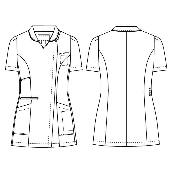 ナガイレーベン 女子上衣(衿つきスクラブ) 医療白衣 半袖 ターコイズ EL ML-1142 (取寄品)