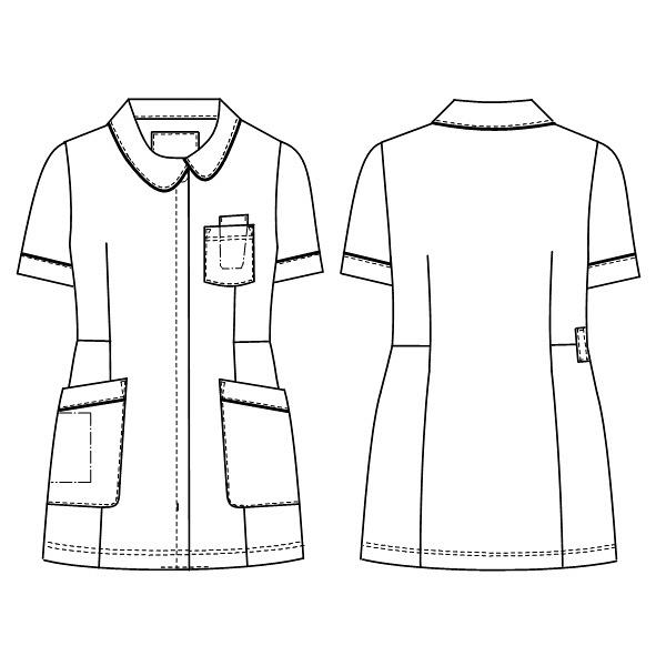 ナガイレーベン ナースジャケット 女性用 半袖 Tバーガンディ L HOS-4902 (取寄品)