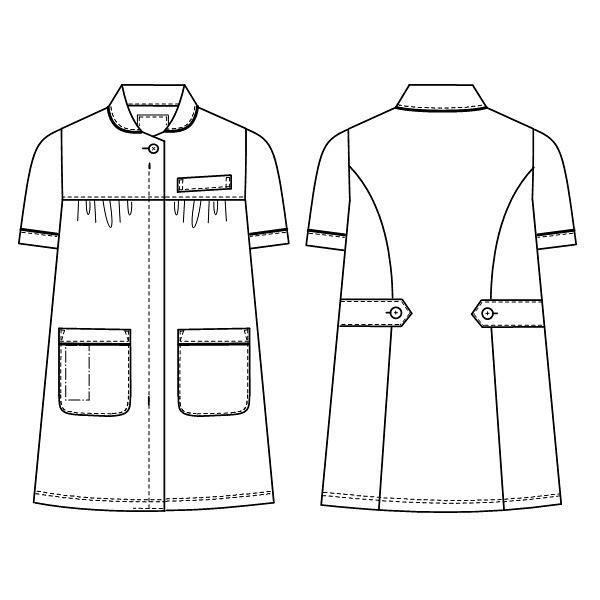 ナガイレーベン マタニティ上衣 ホワイト L HOS-4992 マタニティナース 1枚 (取寄品)