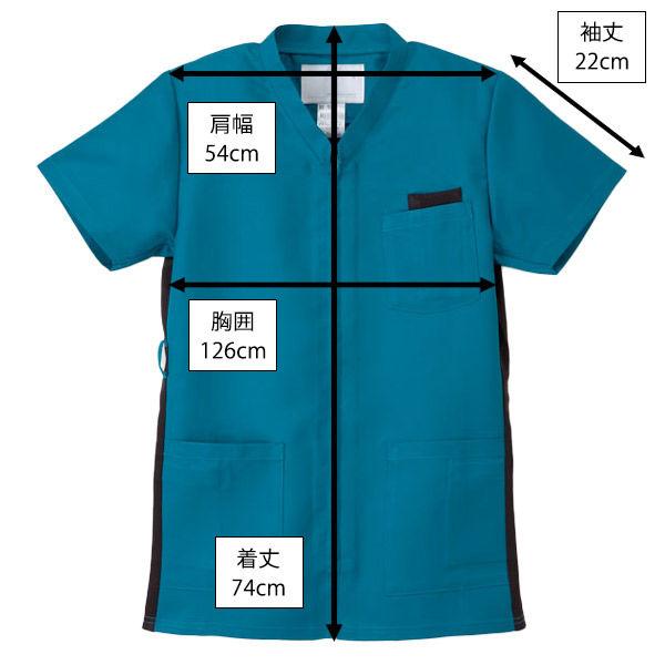 ナガイレーベン 白衣 男女兼用上衣(スクラブ) RT-5072 ターコイズ BL 1枚 (取寄品)