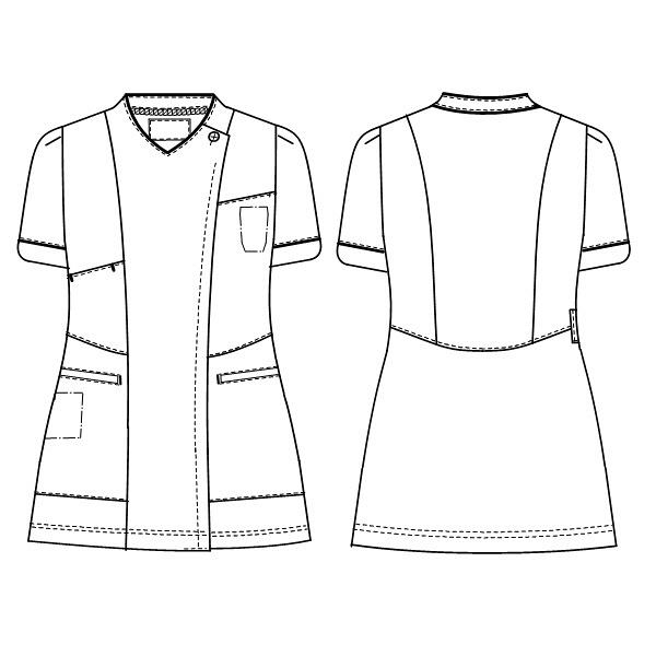 ナガイレーベン 女子上衣 半袖 ネイビー EL LH-6272 (取寄品)