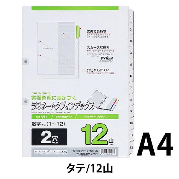 ファイルインデックス 番号入り「1~12」ラミネートタブ A4タテ 2穴 10組 マルマン