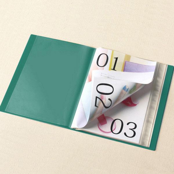 スーパーエコノミークリアーファイル+ 固定式40ポケット 10冊 グリーン プラス