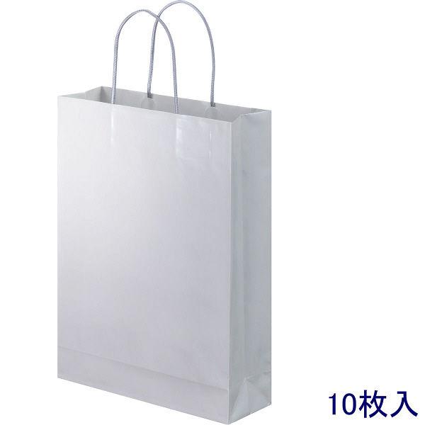 丸紐 手提げ紙袋 グレー L 10枚