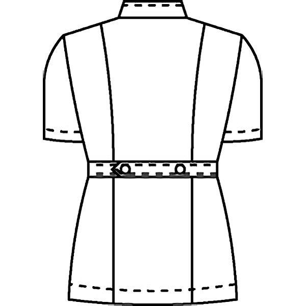 KAZEN レディスジャケット半袖 (ナースジャケット) 医療白衣 ニューサックスブルー(水色) 4L 088-11(直送品)