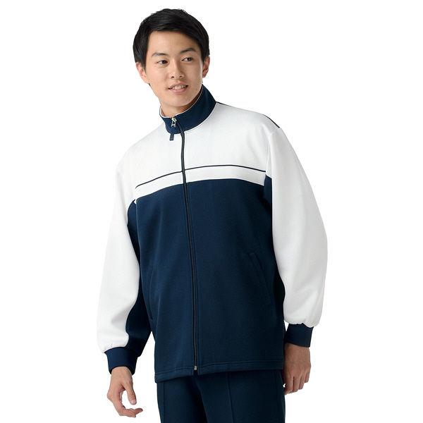 KAZEN ケアジャケット 介護ユニフォーム 男女兼用 ネイビー L 241-31 (直送品)