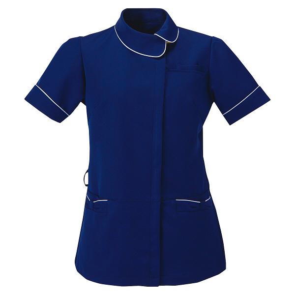 AITOZ(アイトス) アシンメトリーカラーチュニック ナースジャケット 医療白衣 半袖 ネイビー×ホワイト M 861115