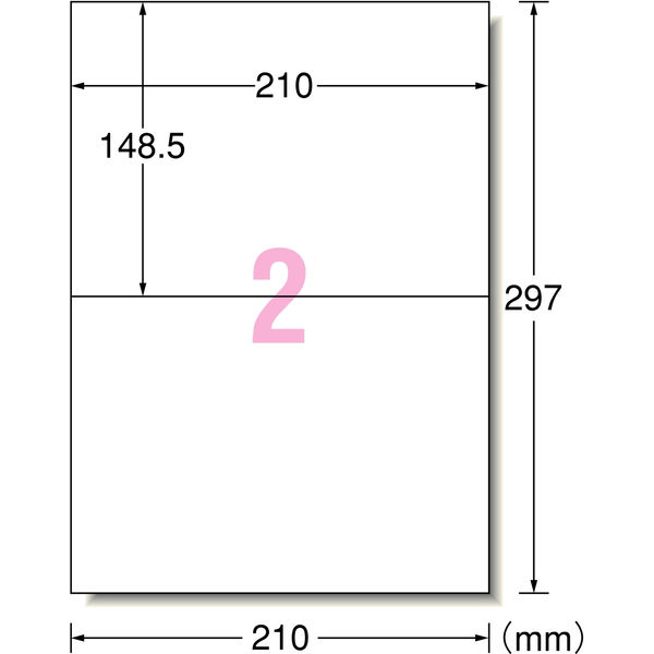 エーワン ラベルシール 表示・宛名ラベル プリンタ兼用 マット紙 白 A4 2面 1袋(100シート入) 31542
