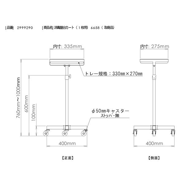 三和製作所 消毒盤台カート(1枚用) 6658 (直送品)