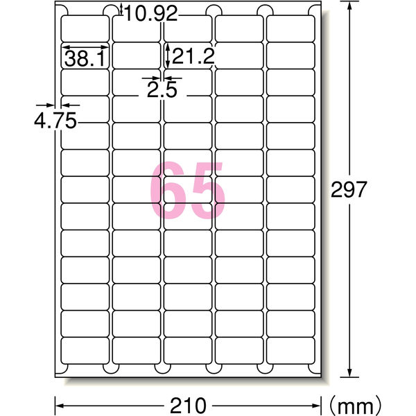 エーワン ラベルシール(プリンタ兼用) 宛名・表示用 73265 65面 四辺余白付角丸 A4 1袋(100シート入)