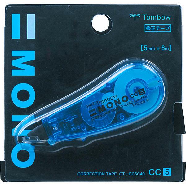 トンボ鉛筆【MONO】修正テープ 使いきりタイプ モノCC5C 5mm×6m 青 CT-CC5C40 5個 (直送品)