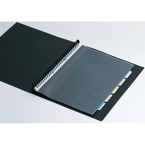 キングジム クリアファイル 差し替え式 5冊 A4タテ背幅49mm カラーベース 黒 139-3