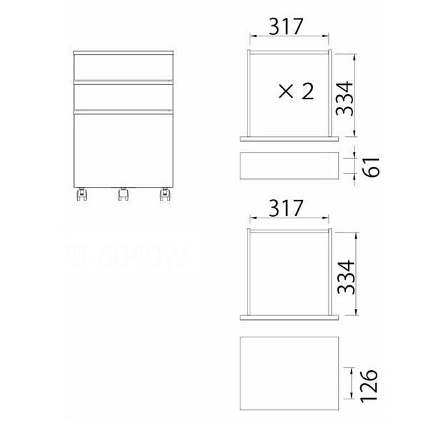 白井産業 デスク下にピッタリ収まるワゴン 3段 アイボリー 幅406×奥行428×高さ606mm 1台 (直送品)