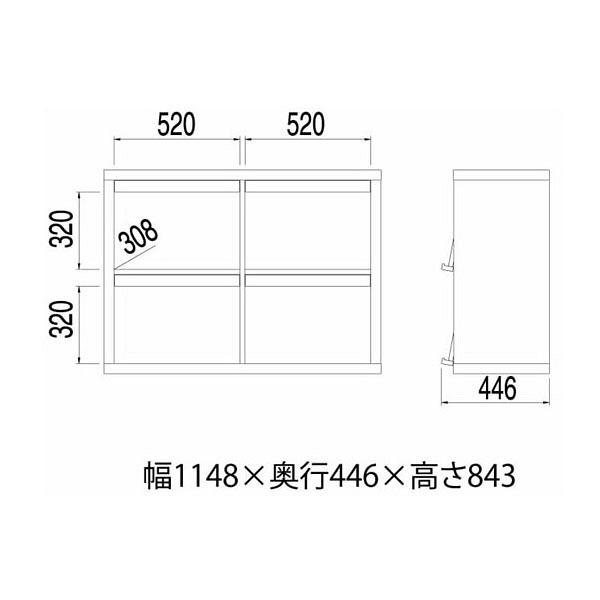 白井産業 重厚感のあるディスプレイラック 2段ワイドタイプ 1台 (直送品)