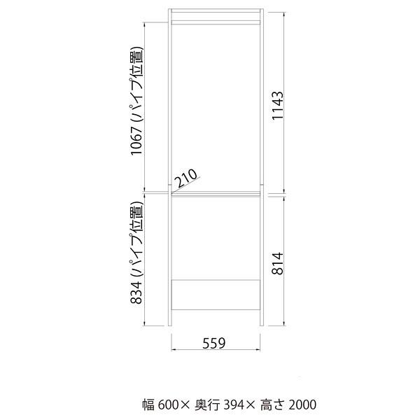 白井産業 壁面ハンガーラック 2段ハンガータイプ 幅600mm 1台 (直送品)