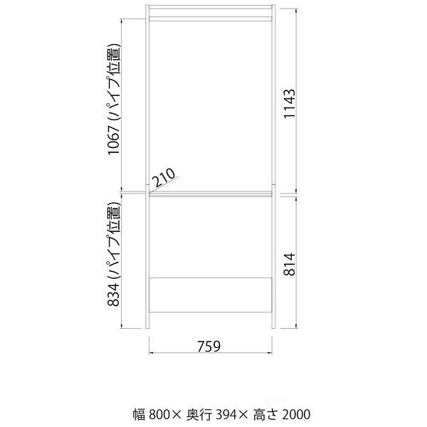 白井産業 壁面ハンガーラック 2段ハンガータイプ 幅800mm 1台 (直送品)