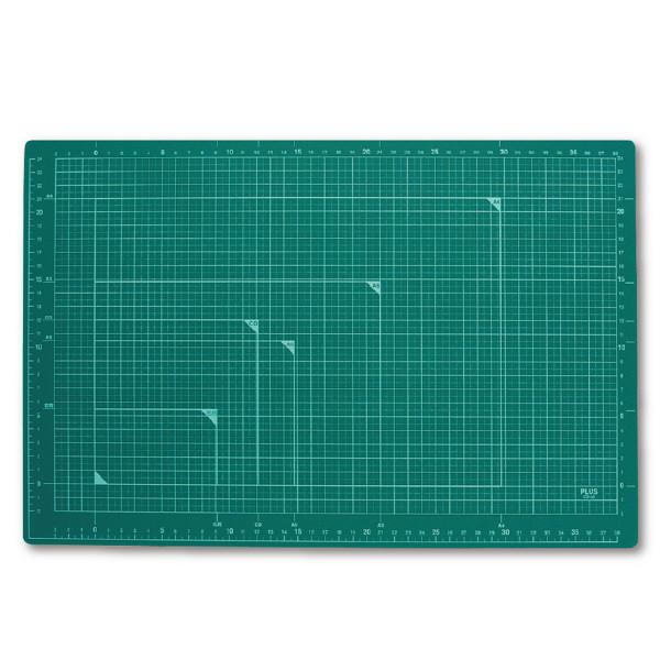 プラス カッティングマットグリーン A3 48584