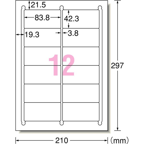 エーワン ラベルシール 表示・宛名ラベル インクジェット マット紙 白 A4 12面 1袋(100シート入) 28916