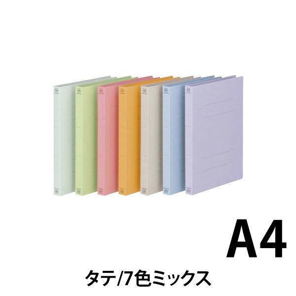 プラス フラットファイル厚とじ A4タテ 12冊 7色アソート No.021NW 樹脂製とじ具