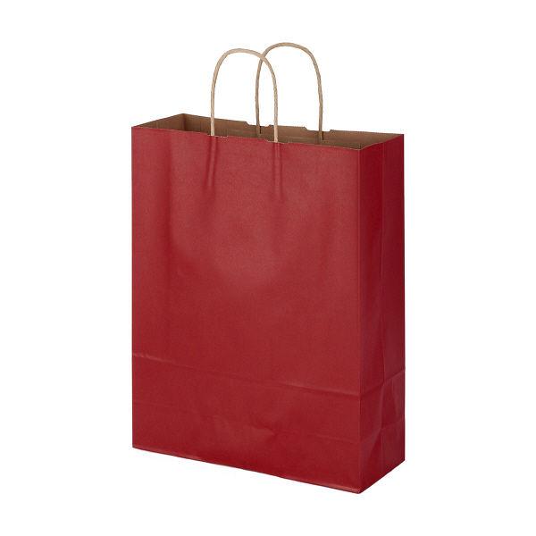 丸紐 手提げ紙袋 赤 L 50枚