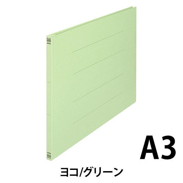 プラス フラットファイル樹脂製とじ具 A3ヨコ グリーン No.002N 10冊