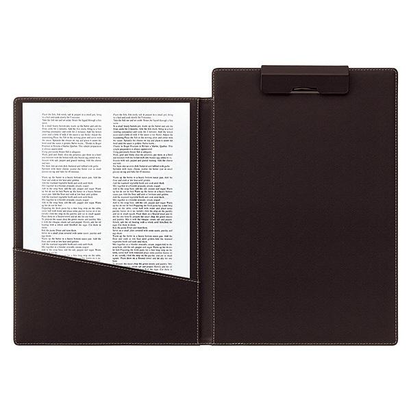 合皮製クリップファイル A4タテ 二つ折り 3冊 ブラウン アスクル