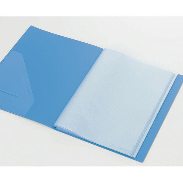 キングジム クリアーファイルカラーベース(タテ入れ) A4タテ 40ポケット 青 1箱(30冊:10冊入×3箱)