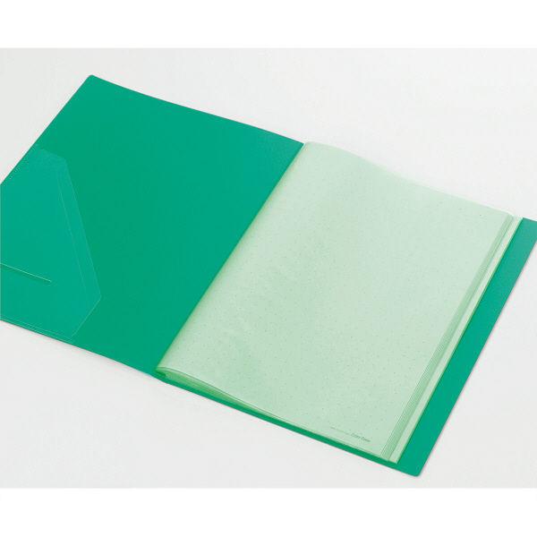 キングジム クリアーファイルカラーベース(タテ入れ) A4タテ 40ポケット 緑 1箱(30冊:10冊入×3箱)