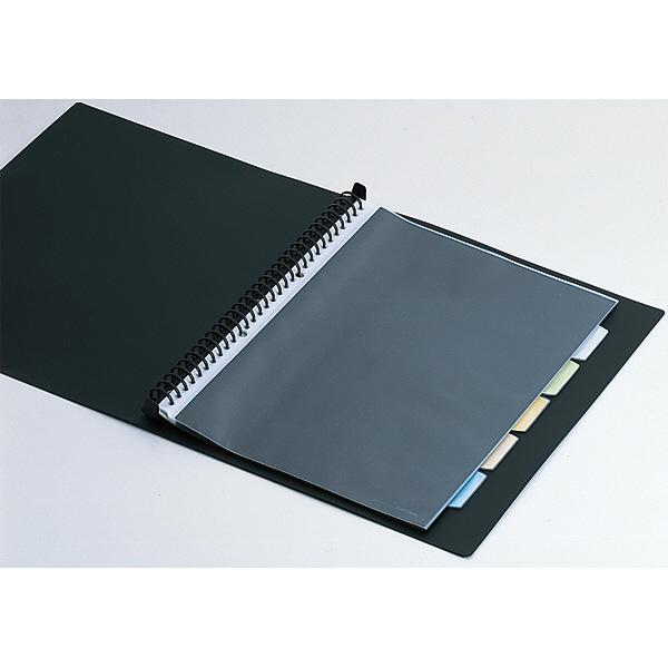 キングジム クリアファイル 差し替え式 5冊 A4タテ背幅25mm カラーベース 黒 139