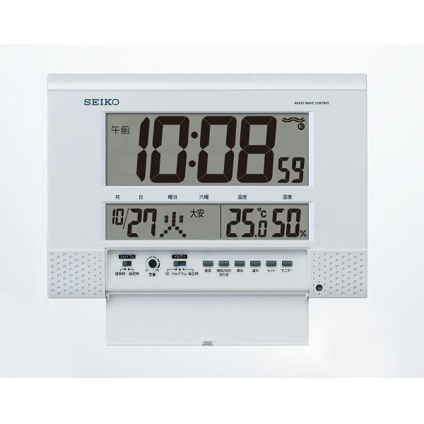 SEIKO(セイコークロック) プログラム機能付デジタル電波時計 [電波 掛け/置き カレンダー 温度・湿度 時計] SQ435W 1個
