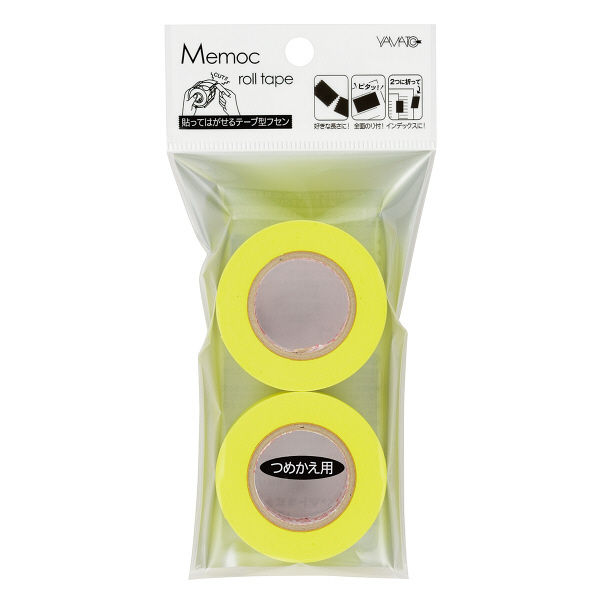 ヤマト メモックロールテープ詰替用 幅25mm×10m巻 レモン WR-25H-LE 24巻(2巻入×12パック)
