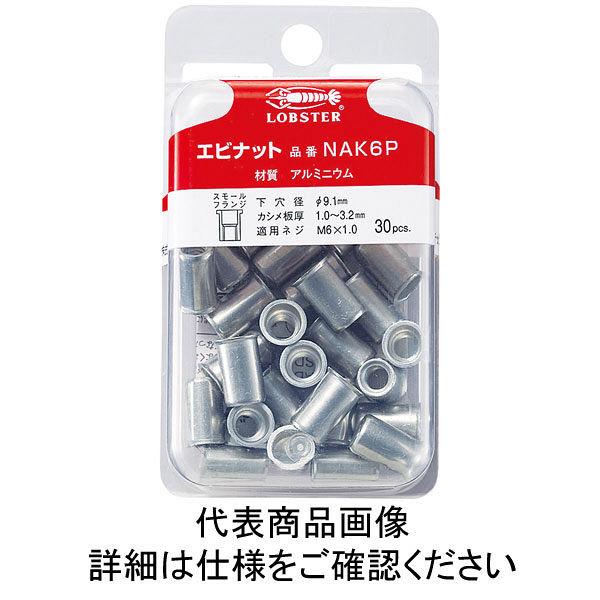 ロブテックス エビ パック入りナット(30本入) Kタイプ アルミニウム 6ー3.2 NAK6P  356ー9004 (直送品)