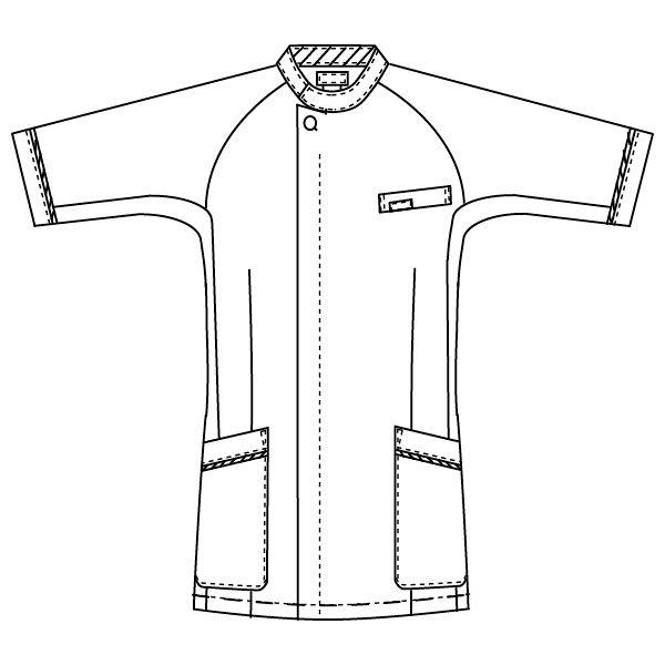 フォーク 1014CR-1-M 男子医務衣M ホワイト/ネイビー 1着 (直送品)