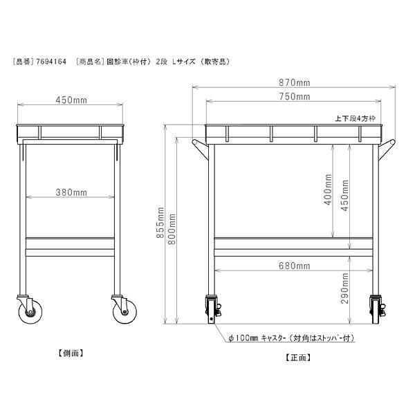 三和製作所 回診車(枠付) 2段 Lサイズ (直送品)