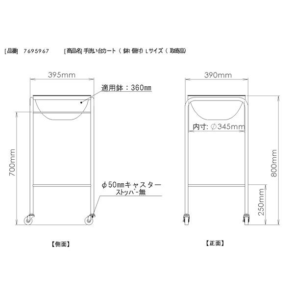 三和製作所 手洗い台カート(鉢1個付) Lサイズ (直送品)