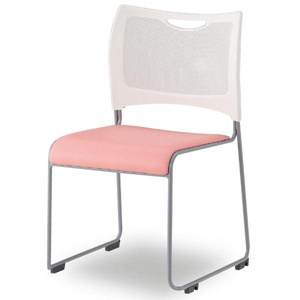 アイリスチトセ 樹脂メッシュスタッキングチェア ホワイト/ピンク 4脚セット (直送品)