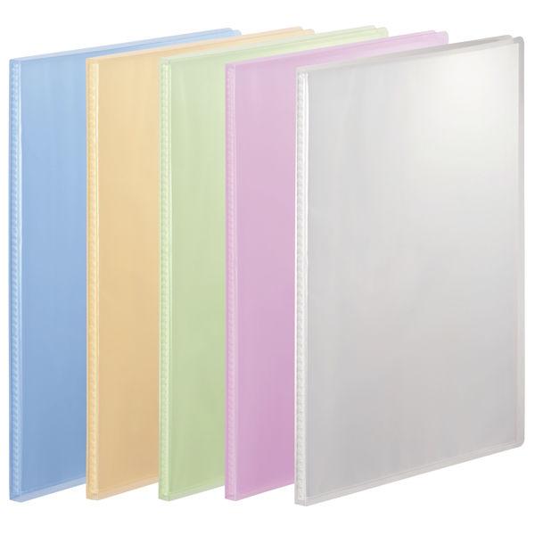 アスクル クリアファイル 固定式20ポケット 10冊 A4タテ 透明表紙 5色アソート