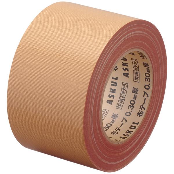 「現場のチカラ」 布テープ 重梱包用ストロング 0.30mm厚 75mm×25m巻 茶 アスクル