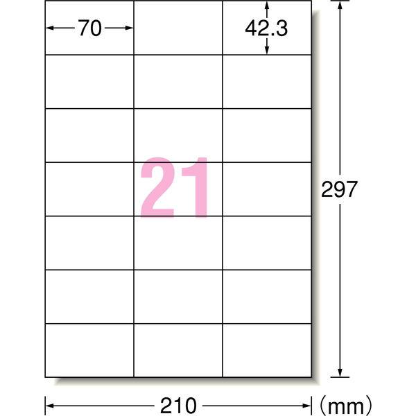 エーワン ラベルシール 強粘着 表示・宛名ラベル プリンタ兼用 マット紙 白 A4 21面 1袋(18シート入) 78421