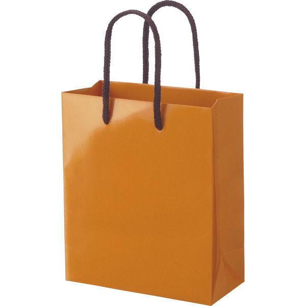丸紐 手提げ紙袋 オレンジ M 5枚