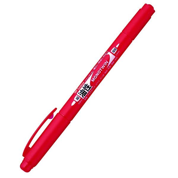 トンボ鉛筆【MONO】油性ツインマーカー 極細モノツインE 赤 OS-TME25 5本