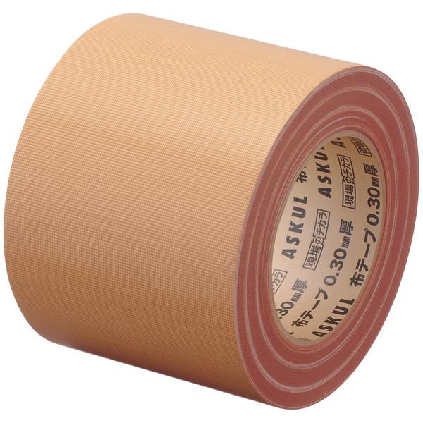 「現場のチカラ」 布テープ 重梱包用ストロング 0.30mm厚 100mm×25m巻 茶 1箱(18巻入) アスクル