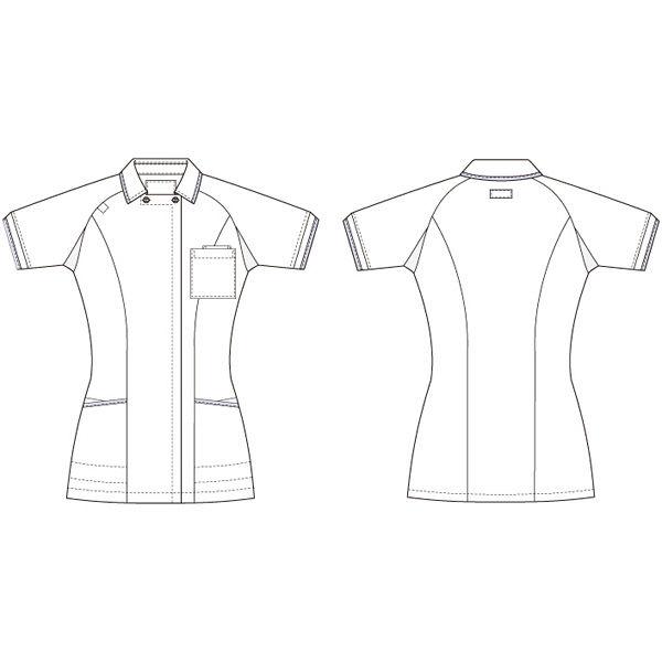 ルコックスポルティフ レディスジャケット(離れ衿) UQW1025 ホワイト×ピンク(バニラ×ピンクテープ) L ナースジャケット 医療白衣 1枚